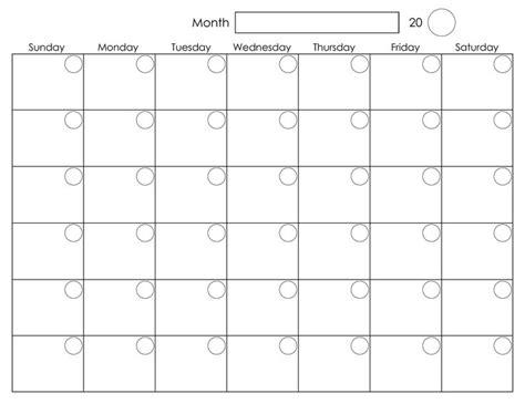 Blank Monthly Calendar Template Printable Blank Monthly Calendar Activity Shelter