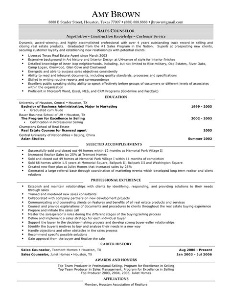 New Home Sales Resume by The Real Estate Resume Exles Tips Writing Resume Sle Writing Resume Sle