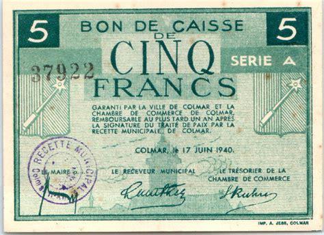 banknote 5 francs colmar chambre de commerce série a