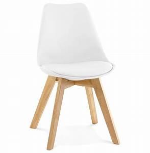 Chaise Blanche Pied Bois : chaise scandinave blanche pieds bois selia ~ Teatrodelosmanantiales.com Idées de Décoration