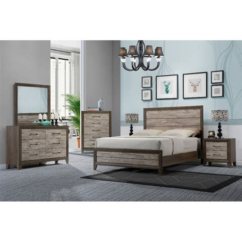 bed and dresser set contemporary two tone walnut 6 bedroom set 14133