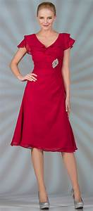 red chiffon short tea length v neckline with short ruffled With tea length dresses with sleeves for wedding guest