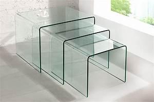 Couchtisch Glas Design : design 3er set glas couchtisch ghost beistelltische transparent riess ~ Markanthonyermac.com Haus und Dekorationen