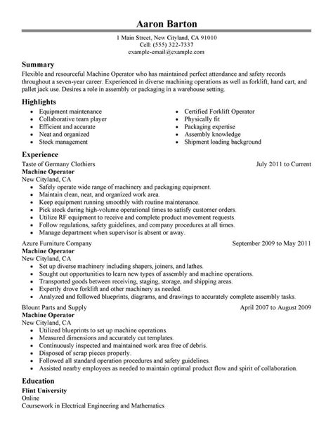 Cv For Machine Operator by Amazing Production Resume Exles Livecareer Machine
