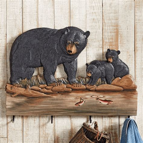 mama bear cubs carved wood coat rack
