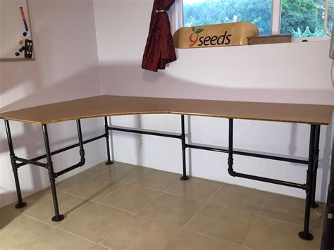 black iron pipe desk dream desk built from black iron pipe and bamboo