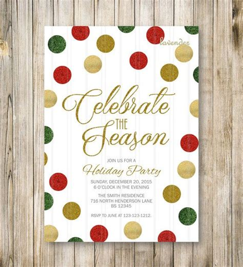 CELEBRATE the SEASON HOLIDAY Party Invitation Red Green