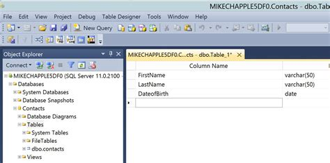 tool to generate class from database table c creating a table with sql server 2012
