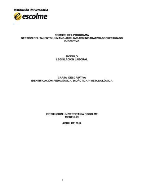 foto de Calaméo Carta Descriptiva Legislación Laboral
