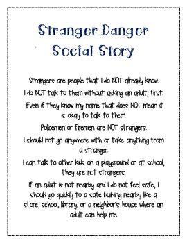 stranger danger  social story   foxs class tpt