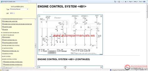 service manuals schematics 2006 mitsubishi outlander engine control mitsubishi outlander 2013 service manual auto repair