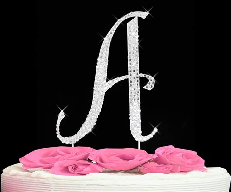 cake topper letters completely covered swarovski initial cake toppers