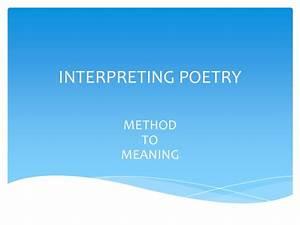 Interpreting Poetry
