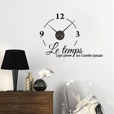 pendule cuisine originale sticker horloge le temps qui passe ne s 39 arrête jamais