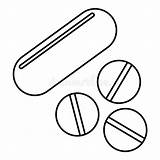 Pills Vitamins Icon Outline Clipart Vector Clip Coloring Dose Drawings Illustration Drawing Illustrations sketch template