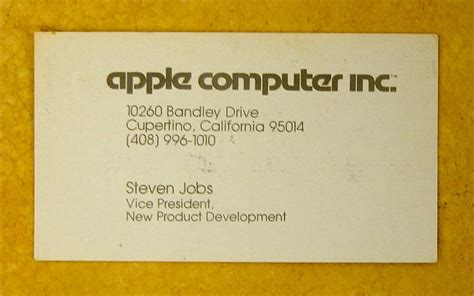 Apple Logo (1977) & Steve Jobs Business Card (1979 Simple Business Card Ai Pt Per L'accesso Servizi American Psycho Template Vector App For Ios How To Make A On Android Github Best Iphone