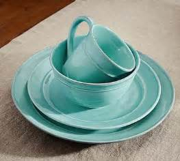cambria  piece dinnerware set turquoise blue pottery