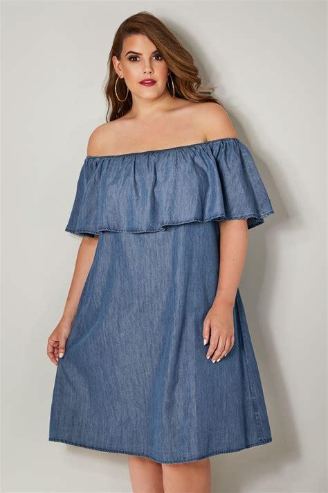Blaues Jeans Bardot Kleid, In Großen Größen 44 Bis 64