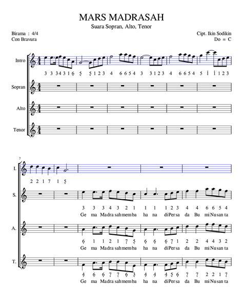 not pianika ar ar pisang notasi lagu mars madrasah suara sopran arpegio sheet