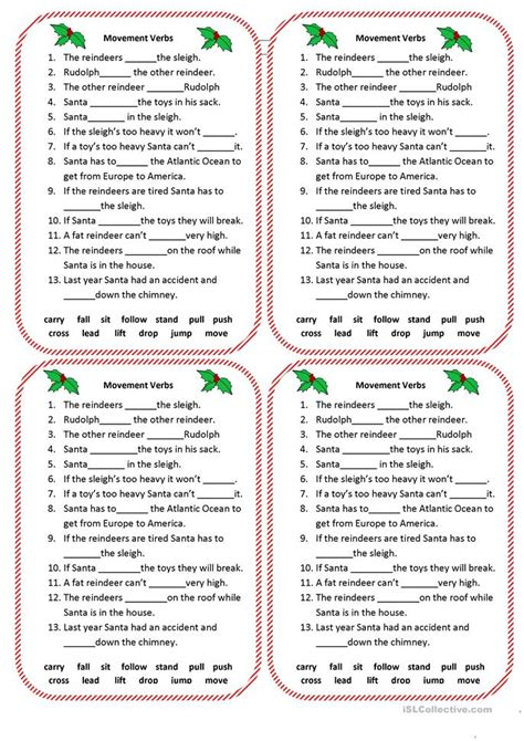 christmas movement verbs worksheet free esl printable worksheets made by teachers