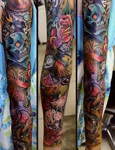 New School Skull tattoo sleeve | Full sleeve tattoos ...