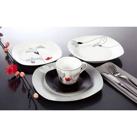 square gray porcelain pcs dinnerware tableware sets dinner kitchen daily dishes ware ceramic