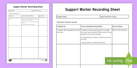 It Support Plan Template by Support Worker Recording Sheet Planning Template