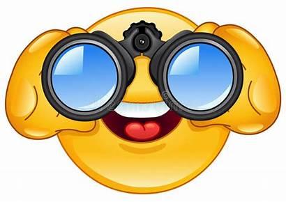 Binoculars Emoticon Looking Through