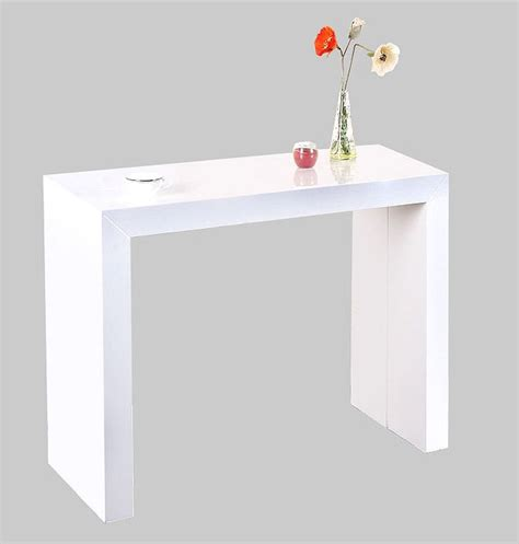 Table Console Extensible Shely Blanc Laquee Table