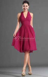 a line halter short mini fuchsia chiffon bridesmaid With robe cocktail fushia
