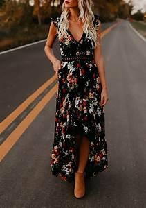 robe maxi longue imprime a fleurie dos nu swallowtail haut With chambre bébé design avec robe fleurie noire