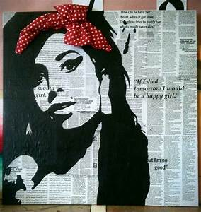 Art Gcse Final Piece  Amy Winehouse With Bow And Canvas