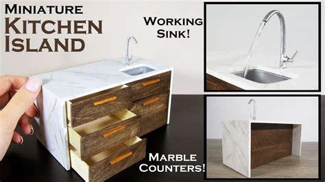 diy miniature kitchen island working sink youtube