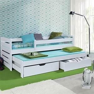 Lit D Enfant Avec Barrière : lit gigogne blanc thomas ii ~ Premium-room.com Idées de Décoration