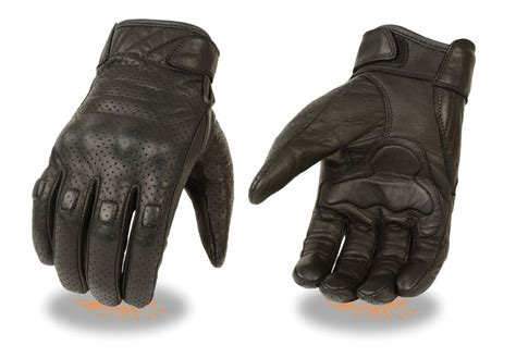 Men's Perforated Leather Motorcycle Glove W Knuckle