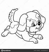 Kleurplaat Schattige Kleurplaten Hond Dieren Puppy Puppies Huisdieren Cartoon Overzicht Pagina Voor Kinderen Blije Kleine Kleurboek Springen Coloring Outline sketch template