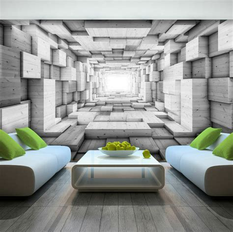 photo wallpaper wooden  effect abstract tunnel wall
