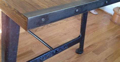 detail  reclaimed bowling alley wood top table steel