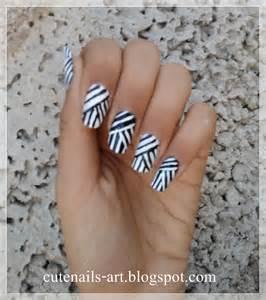 Cutenails art weaving lines nail design black and white