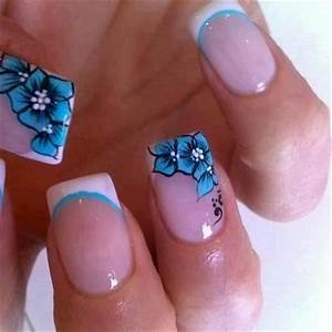 Pretty French Manicure with blue flowers | Nails ...