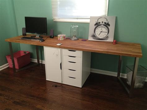 long desks for home office office makeover part one diy desk ikea hack keeps on