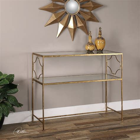 glass console table with shelf modern aged gold leaf iron sofa console hall table