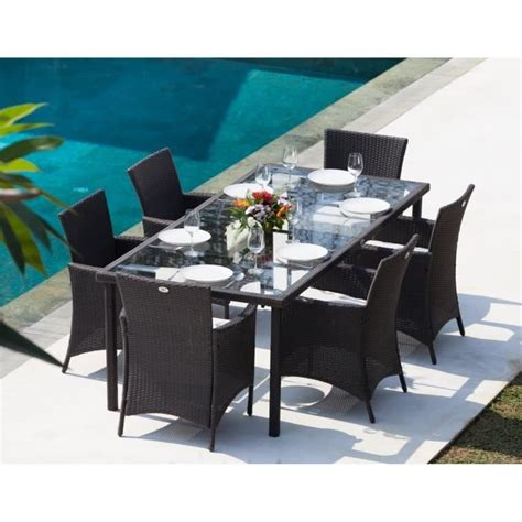 ensemble table et chaises de jardin en solde ensemble table de jardin 220cm et 6 fauteuils résine tressée gris anthracite achat vente