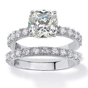 245 tcw princess cut cubic zirconia platinum over With 2 set wedding rings