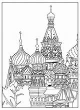 Coloring Cathedral Basil Moscow Saint Square Adult Architecture Sofian Adults sketch template