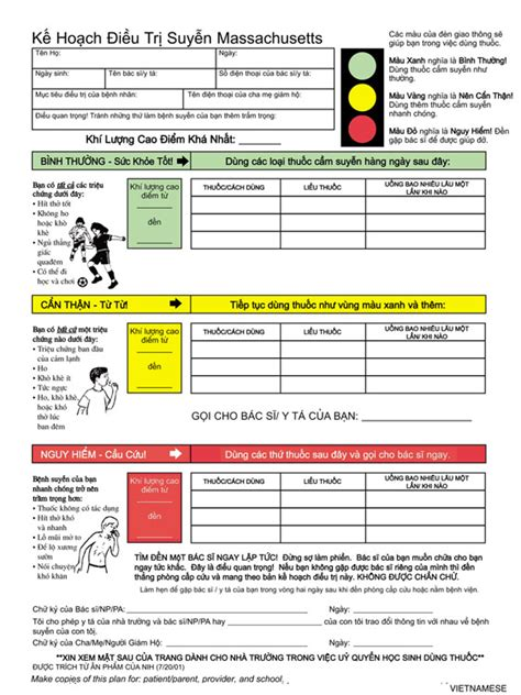 child asthma action plan vietnamese massachusetts