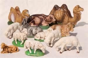 vintage creche figures assorted animals for nativity scene or christmas putz village