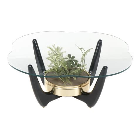 Save up to 30% off on select items. Mid Century Modern Glass Top Coffee Table with Wood and Artificial Plant Base   EBTH
