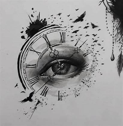 Dessin Tatouage Drawings Tattoo Horloge Oeil Pocket