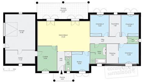 plan maison 3 chambres 1 bureau charmant plan maison plein pied chambres maison
